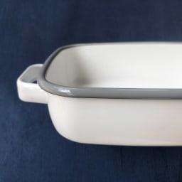 調理もできるホーロー容器 ホーローオーブンディッシュ1個 浅型M 1.6L (ア)ホワイト