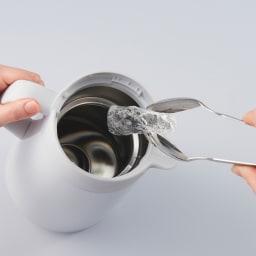 タイガー魔法瓶ステンレスポット〈プッシュレバータイプ〉 1.6L 広口約7.5cmで大きな氷も入る