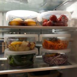 HARIO/ハリオ 耐熱ガラス製保存容器・丸600mL 6個セット 冷蔵庫に重ねても、中が見やすいガラス製。