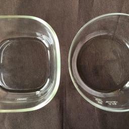 HARIO/ハリオ 耐熱ガラス製保存容器・丸600mL 6個セット 写真右が丸型です。写真左の角型(商品番号WX0818)よりガラスが薄いです