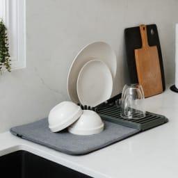 umbra/アンブラ 水切りマット ユードライミニドライングマット ラックには、カトラリーや包丁などの細長い物とお皿や蓋などの平らな物を干せます。