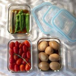 グラスコンテナ4点ロック式 耐熱ガラス保存容器 3個セット 常備菜に丁度いいサイズ。