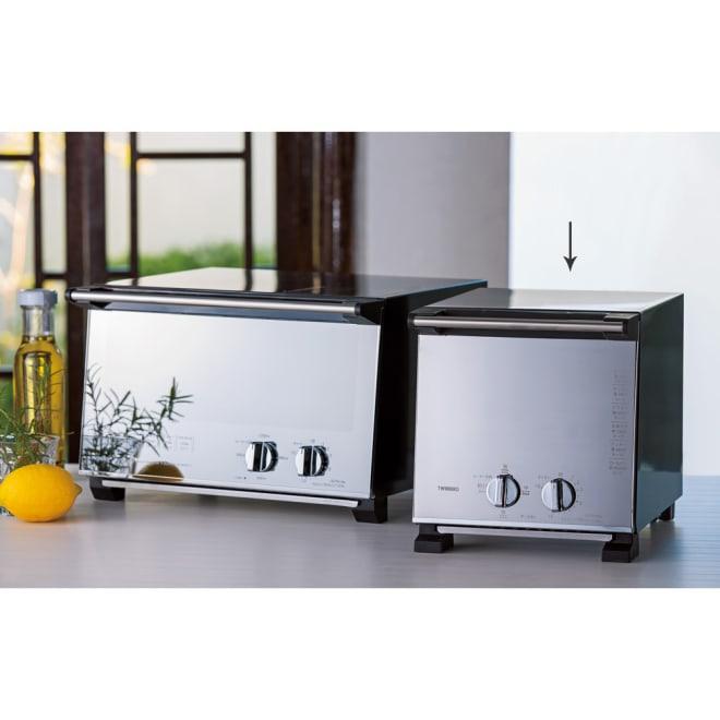 ミラーガラス オーブントースター スリムサイズ