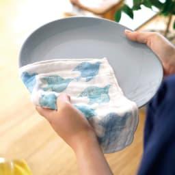 しあわせ重ね蚊帳ふきん 3柄セット 使用例(青い鳥)