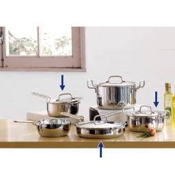 【特典2点付き】IH対応 服部先生のステンレス7層構造鍋「ジオ」 3点セット 両手鍋20センチ・片手なべ18センチ・ソテーパン25センチの3点セット。この3点セットがあればほとんどの料理が作れます!