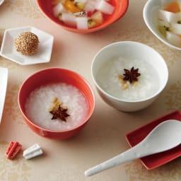 あたり飯碗紅白揃2色4点セット 使用イメージ ※お届けは飯椀(紅色・白色)、箸置き(紅色・白色)となります。