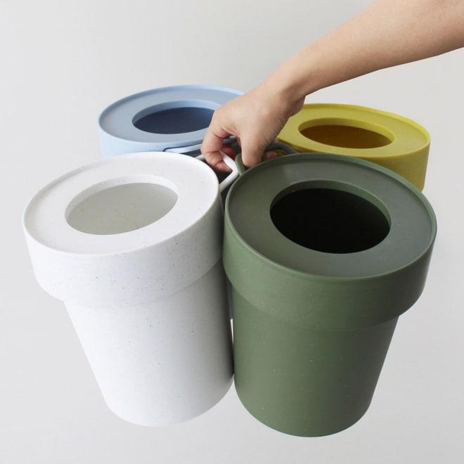 タップトラッシュ 10L ダストボックス ゴミ箱 左から時計回りに(イ)ブルー(ウ)イエロー(エ)カーキ(ア)ホワイト