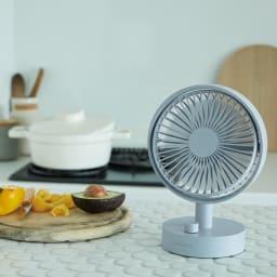 recolte/レコルト キッチンや寝室に!充電式コードレステーブルファン 扇風機 使用イメージ 暑いキッチンで 。(ア)ブルー