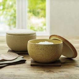 伊賀焼長谷園 陶器のおひつ陶珍 2合用 左から(イ)粉引 (ア)黄瀬戸