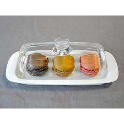 ガラス蓋のバターケース お菓子をいれても可愛いデザイン