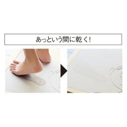 soleau/ソレウ 吸水・速乾・消臭 ムーミンダイカットバスマット 濡れた足をのせると素早く水を吸収して、サラリとした肌ざわりに。