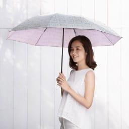 フィンレイソン 晴雨兼用大判折りたたみ日傘 60cm(直径105cm) [コーディネート例] (ウ)ピンク