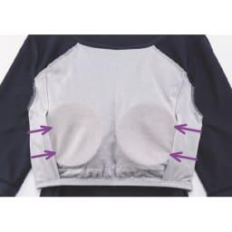 おやすみブラ付きルームウエア ワンピース 両脇についたサイドパネルが、バストの横流れを防ぎます。ブラ部分の生地は綿素材でやさしい肌触り。
