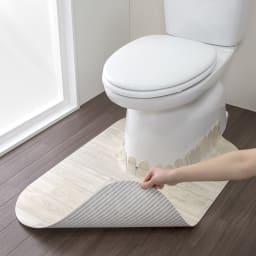 汚れが拭ける消臭トイレマット ロング木目調