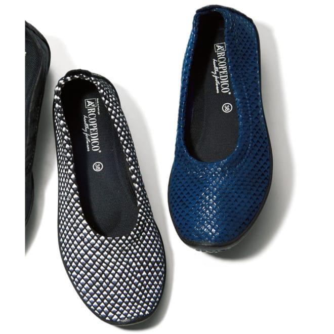ARCOPEDICO/アルコペディコ バレリーナジオ1 (ア)ネイビー…トレンドのネイビーは、大人の女性が可愛く履けるカラーです。