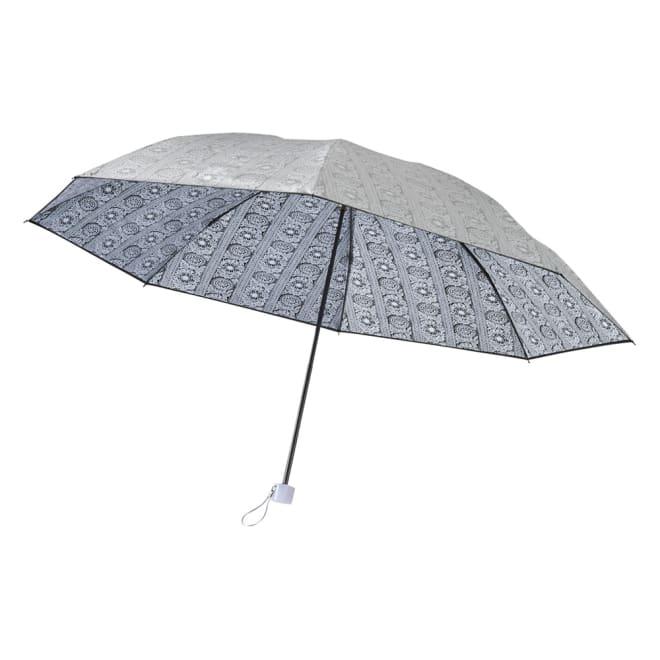 フィンレイソン 晴雨兼用大判折りたたみ日傘 60cm(直径105cm) (イ)ブラック(外面はシルバー)