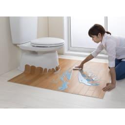 汚れが拭ける消臭トイレマット ジャンボ木目調 使用イメージ(ア)ベージュ