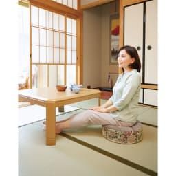 程よい高さで床座をサポート! お尻に優しいフローリングクッション 畳の上でも長時間ラクに座れます。