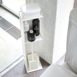 Tower/タワー スリムトイレラック 使用イメージ(ア)ホワイト