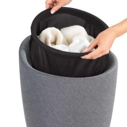 WENKO収納付きスツール リネン 中には取り外しできる収納袋が付いています