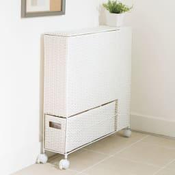 ラタン風ランドリーチェストシリーズ トイレ収納ラック (イ)ホワイト 効率よく収納でき、トイレの左右どちらにでも置けます。
