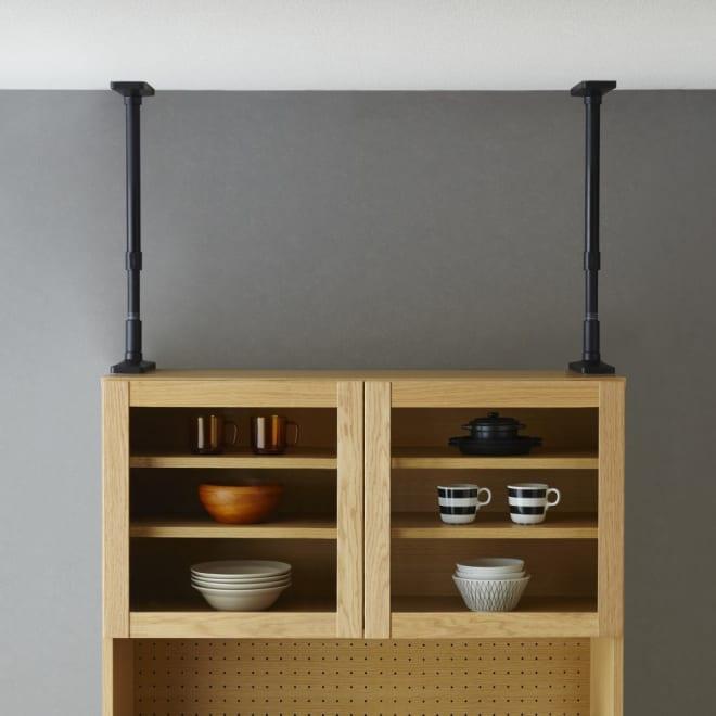 インテリアになじむ マット調 家具転倒防止 突っ張りポール 工具不要で簡単に取り付けられる耐震ポール (イ)ブラック