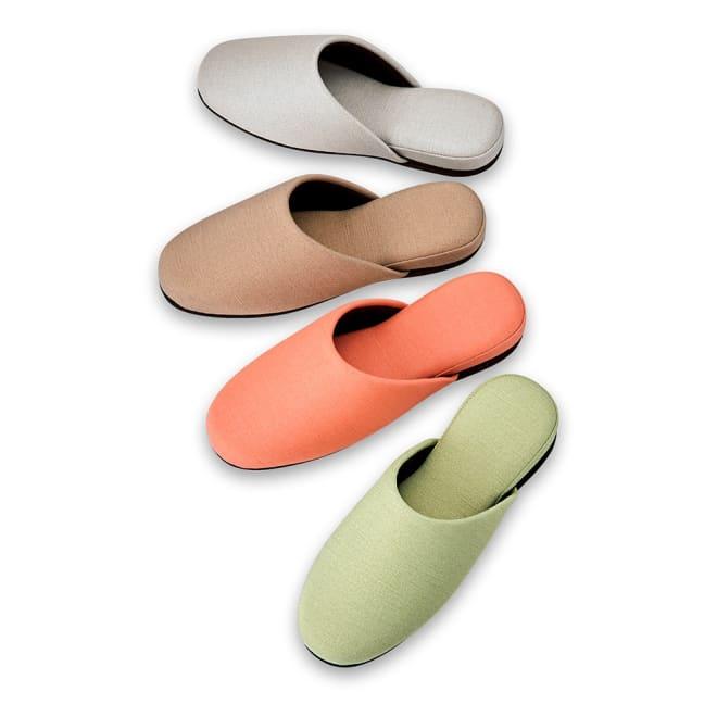 お手入れしやすいゲストスリッパ4足組 スタンダード (ア)4色組 上から グレー、モカ、サーモンピンク、ライトグリーン