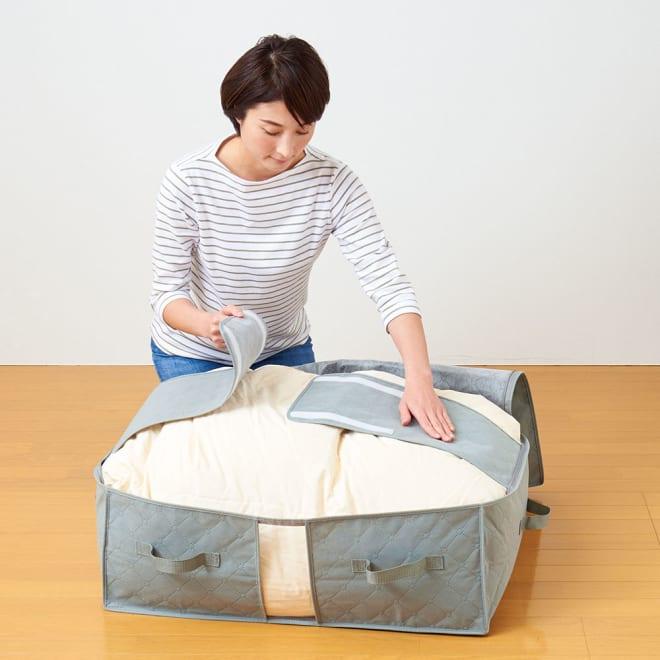 掃除機不要! 竹炭 布団収納袋 布団押さえバンド付で掃除機いらずで布団をしまえる収納袋です。
