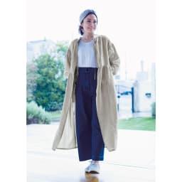 【TOUCH & FEEL (R) MATA 】 タッチ&フィール マータ リネン100% 3WAY割烹着リラックスローブ 【Robe Style】 (イ)リネンベージュ