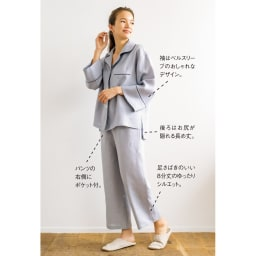 フレンチリネンのパジャマ 着用イメージ(ウ)グレー
