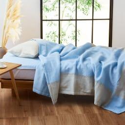 季ノ布 麻のシャリ感 風薫る皐月シリーズ 洗える麻肌掛けふとん シングルサイズ (イ)ブルー ※お届けするのは肌掛け布団です。