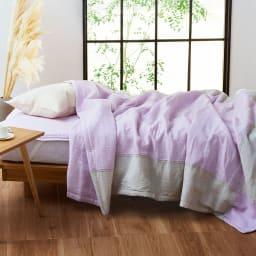 季ノ布 麻のシャリ感 風薫る皐月シリーズ 洗える麻敷きパッド (ア)ピンク ※お届けは洗える麻敷きパッドです。