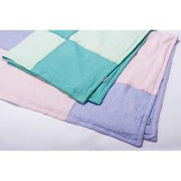 季ノ布 ふわり軽やか 初夏の彩り 洗える麻肌掛けふとん シングルサイズ 上:グリーン 下:ラベンダー