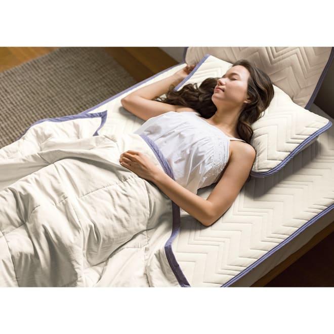 西川×ディノス クールコットン寝具シリーズ 敷きパッド ダブル (ア)アイボリー ※お届けは敷きパッドです。
