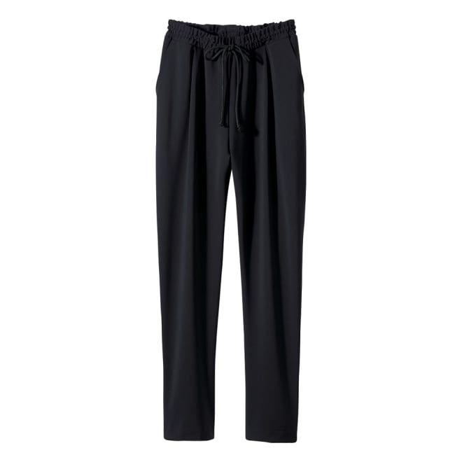 2WAYストレッチ生地使用 シワになりにくいウェアシリーズ クロップトパンツ ウエストはゴム+ひも仕様。前2個ポケット、後ろ飾りポケット2個。