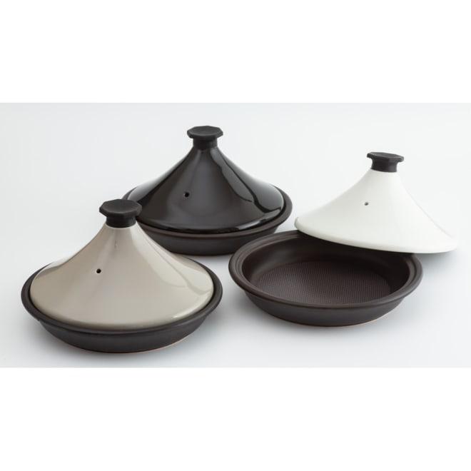 有田焼のニュータジン鍋「富士山」 左から、(ア)グレー、(イ)ブラック、(ウ)ホワイト