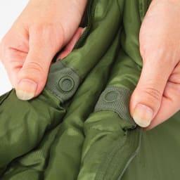 クッション型多機能寝袋SONAENO 新発想のアシストボタン搭載。広がる寝袋をしっかり留めてくれるので一人でも簡単に畳めます