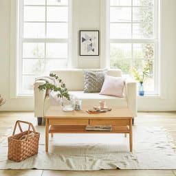 棚付き天然木テーブル コーディネート例