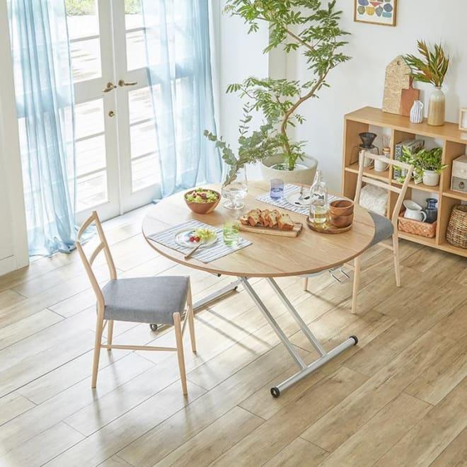 伸長丸形昇降テーブル幅100 (イ)ナチュラル デザイン性の高い丸テーブルで、北欧のインテリアが叶えられます。