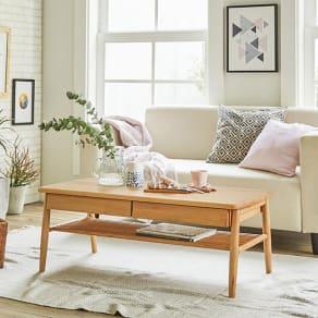 棚付き天然木テーブル 写真