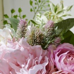 PRIMAメルシーブーケ ピンク系 エリンジウムやアジアンタムなど様々な花材をミックスして束ねています