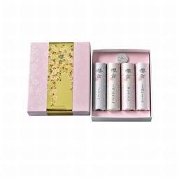 4種の桜のお香&貝の香皿 セット (ア)白 貝合わせの香皿の色が白ベースにピンクの桜が描かれています