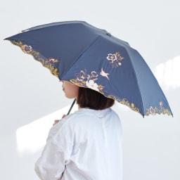 晴雨兼用 二重張り折り畳み日傘 芙蓉 しっかり顔もカバー出来るサイズ