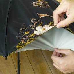晴雨兼用 二重張り折り畳み日傘 芙蓉 ブラックもウレタン生地との二重張り