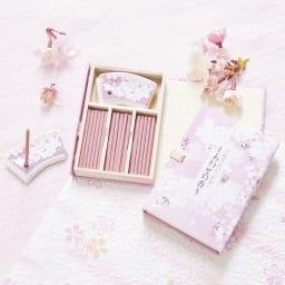 宇野千代 しあわせの香り 桜のお香 桜柄のお香立て付きのお香です。