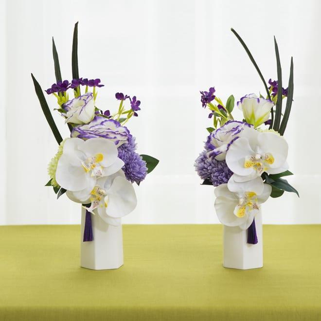 【PRIMA(プリマ)】タッセル付き供花 白パープル 左:ア)ヒダリ 右:イ)ミギ タッセルの位置は手直しできますが、対で飾られる場合は右左それぞれお買い求めいただくことをお勧めします