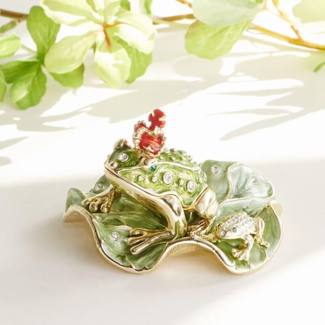 ジュエリーケース 王冠カエル キラキラと輝く王冠カエルのジュエリーケースです