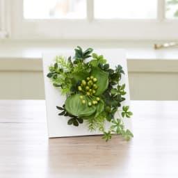 ウォールデコ(フレームグリーン)Sサイズ サンキライ×シュガーバイン グリーンの実がかわいらしいサンキライをメインにしたフレームグリーン