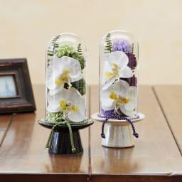 ガラスドームの供花 コチョウラン ガラスドームに高級感のある胡蝶蘭とマム等をアレンジしました
