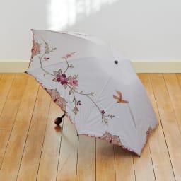 晴雨兼用 二重張り折り畳みミニ日傘 ハチドリ (ア)モカ系 優しいベージュ~ブラウンベースにピンク+イエロー系の鳥の舞う色合い